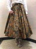 50〜60年代ブラウン×ブルーグリーン花柄タイダイ模様サーキュラーラップスカート