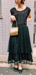50〜60年代ブラック無地レース切替ティアードスカートペンタゴンネックノースリーブドレス