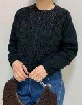 50〜60年代ブラックビーズ&スパンコール刺繍ラウンドネック長袖ニットカーディガン