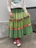 50〜60年代グリーン×ブラウン×オレンジネイティブ柄サーキュラースカート