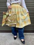 50〜60年代イエロー×オレンジ×グリーン花刺繍ブロックチェック柄フレアスカート