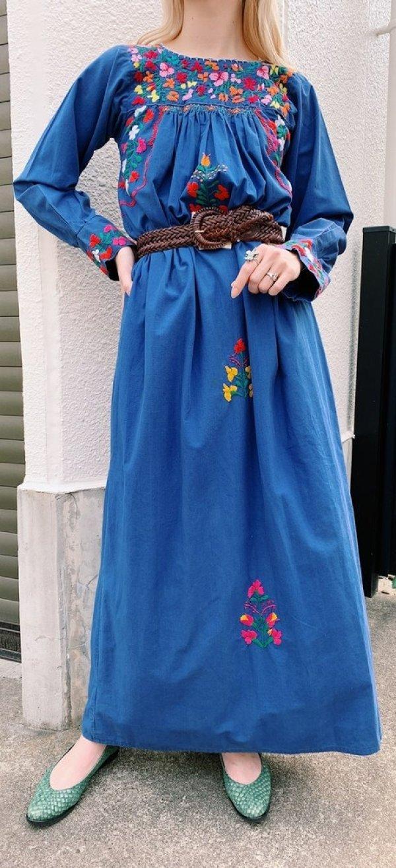 画像1: ブルー×レッド×オレンジサンアントニーノ刺繍長袖ロングドレス
