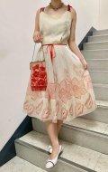 50〜60年代ホワイト×レッド花プリントベロアリボン付きキャミソールシフォンドレス