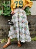 50〜60年代グレー×ホワイトチェック&風景柄フレアスカート