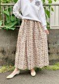 50〜60年代ホワイト×ブラウン×イエロー葉っぱ柄フレアスカート