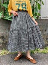 50〜60年代ブラック×ベビーピンク×ライトグリーン幾何学柄フレアスカート