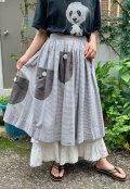 50〜60年代グレー×ホワイトボーダービッグポケット付きスカート