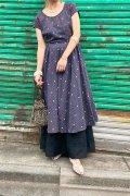 50〜60年代ブラック×イエロー×ピンクチェック柄&幾何学刺繍ラウンドネックポケット付き半袖ドレス