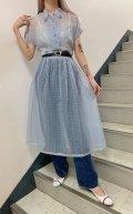 50〜60年代ライトブルー×オレンジ×イエロー★柄ハーフボタン半袖シースルードレス
