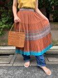 50〜60年代ブラウン×サックス×ゴールド刺繍ラメテーププリーツメキシカンサーキュラースカート