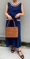 50〜60年代ネイビー×ホワイト花モチーフパイピングベルト&ポケット付きノースリーブドレス