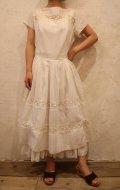 50〜60年代ホワイト無地かぎ編み切り替え半袖ドレス