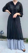 50〜60年代ブラックボーダーシースルーストーンボタン五分袖シャツ型ドレス