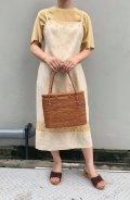 50〜60年代ベージュドット&ボタニカル刺繍かぎ編み切り替えキャミソールIラインリネンドレス