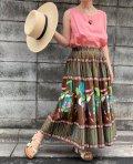 50〜60年代ブラウン×ベイビーピンク×ターコイズグリーン人柄メキシカンサーキュラースカート