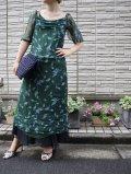 60〜70年代ダークグリーン×ライトブルー×ライトパープル葉っぱ柄ピンタックデザイン半袖インドシルクドレス