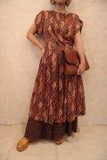 50〜60年代ブラウン×テラコッタアーガイル柄スカラップスリーブ半袖ドレス