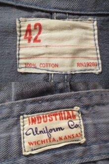 他の写真1: 50〜60年代ライトブルーヘリンボーンチェーンステッチ開襟長袖オールインワン