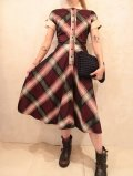 50〜60年代パープル×グレー×ライトピンクチェック柄ハーフボタン半袖シャツ型ドレス