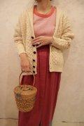 アイルランド製生成り×ブラウンアラン編みポケット付きショールカラー長袖フィッシャーマンニットカーディガン