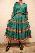50〜60年代グリーン×レッド×イエローなみなみテープ付き開襟半袖メキシカンセットアップドレス