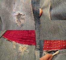 """他の写真1: """"LEVIS684""""ライトブルー×ブルー×レッドチェック&ボーダー柄パッチワークデザインポケット付きヴィンテージリメイクロングデニムスカート"""