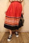 レッド×ブラック×ホワイトグアテマラ刺繍タイトスカート