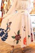 50〜60年代ホワイト×カラフル花&ダンサーペイントスパンコール刺繡メキシカンサーキュラースカート