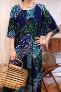 ネイビー×サックスブルー×グリーンクルーネック五分袖ロングドレス