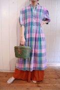 70年代パープル×ブルーグリーンチェック柄ポケット付きインドコットンパフスリーブ五分袖ドレス