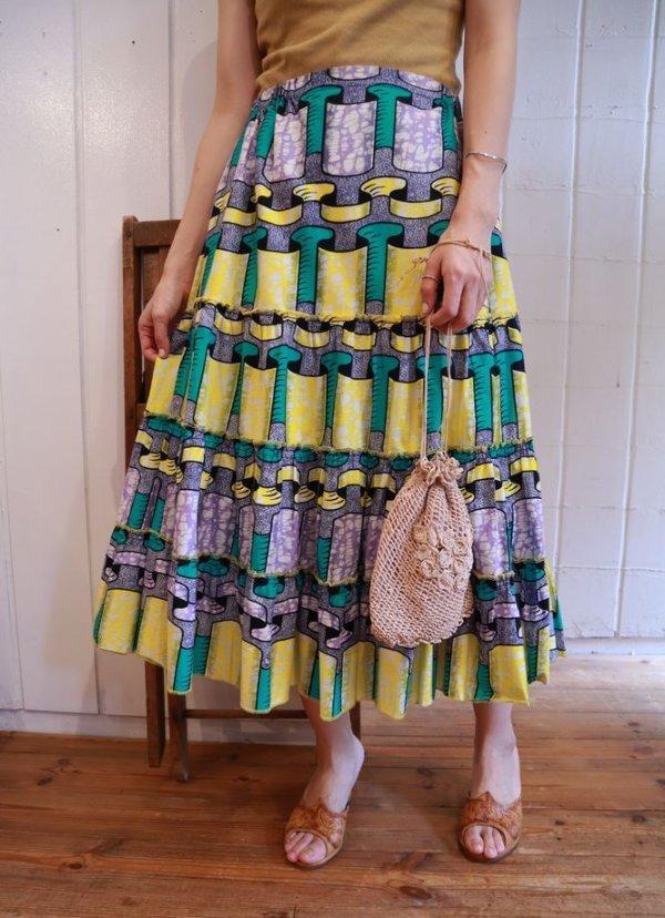 画像1: イエロー×グルーン×パープルリボン柄アフリカンバティックティアードスカート