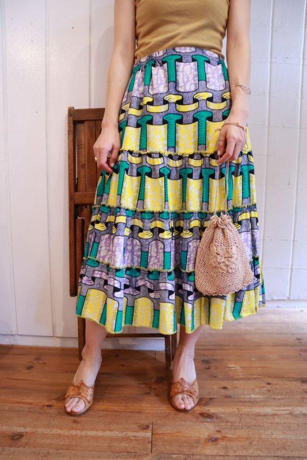 画像2: イエロー×グルーン×パープルリボン柄アフリカンバティックティアードスカート