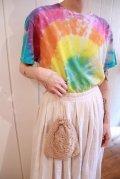サックス×カラフルタイダイ染半袖Tシャツ