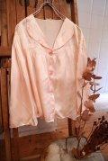 50〜60年代ペールピンク無地丸襟ベッドジャケット