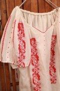 60〜70年代ホワイト×レッドルーマニア刺繍ギャザーネック半袖シースルーチュニック