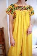 イエロー×カラフル花刺繍サンアントニーノメキシカン半袖ロングドレス