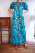 ターコイズブルー×カラフル花刺繍メキシカン半袖ロングドレス