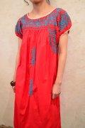 レッド×ブルーサンアントニーノ刺繍メキシカン半袖ドレス