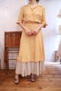 50〜60年代イエローハーフボタン開襟半袖ドレス
