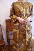 50〜60年代マスタードイエロー×ブラウン水彩画風七分袖ドレス