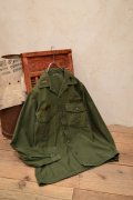 U.S.ARMYカーキ襟ワッペン付き開襟長袖シャツ