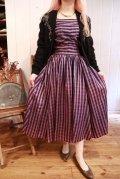 50〜60年代パープル×ブラックストライプシャーリングノースリーブドレス
