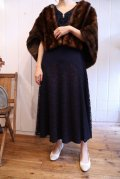 50〜60年代ネイビー×ボルドーレース切替リボン付き半袖ドレス