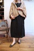 50〜60年代ブラック花柄刺繍ポケット付きラウンドネック半袖ドレス