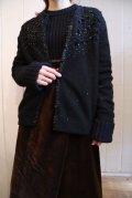 50〜60年ブラックスパンコール&ビーズお花刺繍ラウンドネック長袖ニットカーディガン