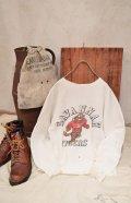 50〜60年代ホワイト×ブラウンタイガー&ロゴ染み込みプリントクルーネック長袖スウェット