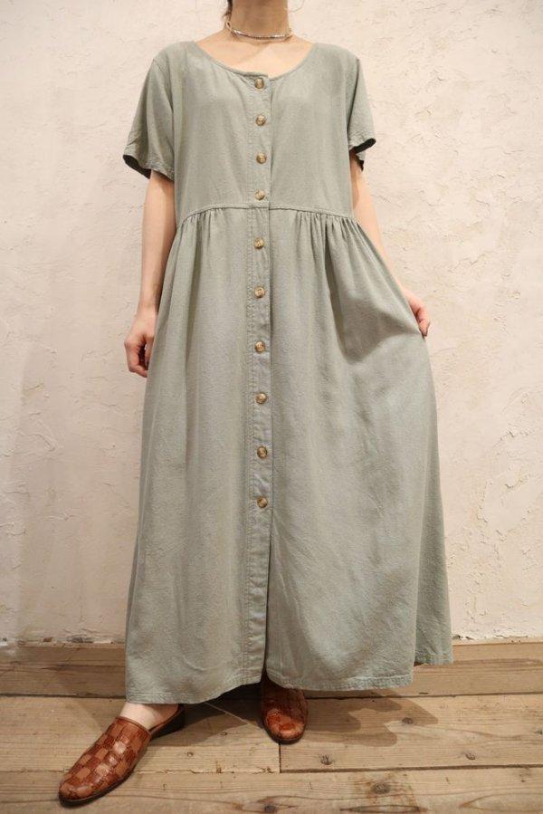 画像2: ペールグリーン無地フロントボタンラウンドネック半袖ドレス