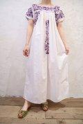 ホワイト×パープルサンアントニーノ刺繍クルーネック半袖メキシカンドレス