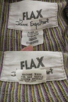 """他の写真2: """"FLAX by Jeanne Engelhart""""グレーベージュ×パープル×カーキストライプポケット付き長袖リネンシャツジャケット"""