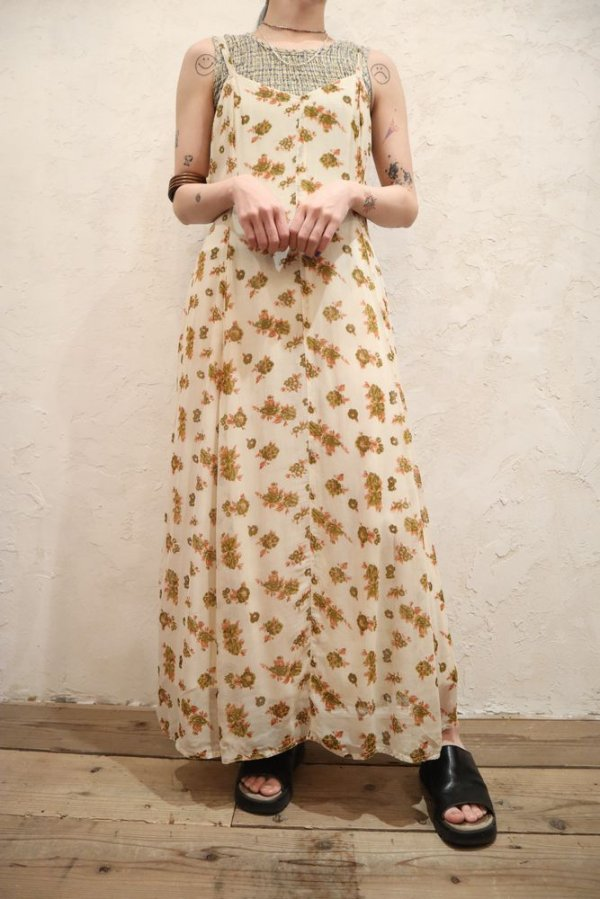 画像2: アイボリー×オレンジ×カーキ花柄インドレーヨンキャミソールドレス